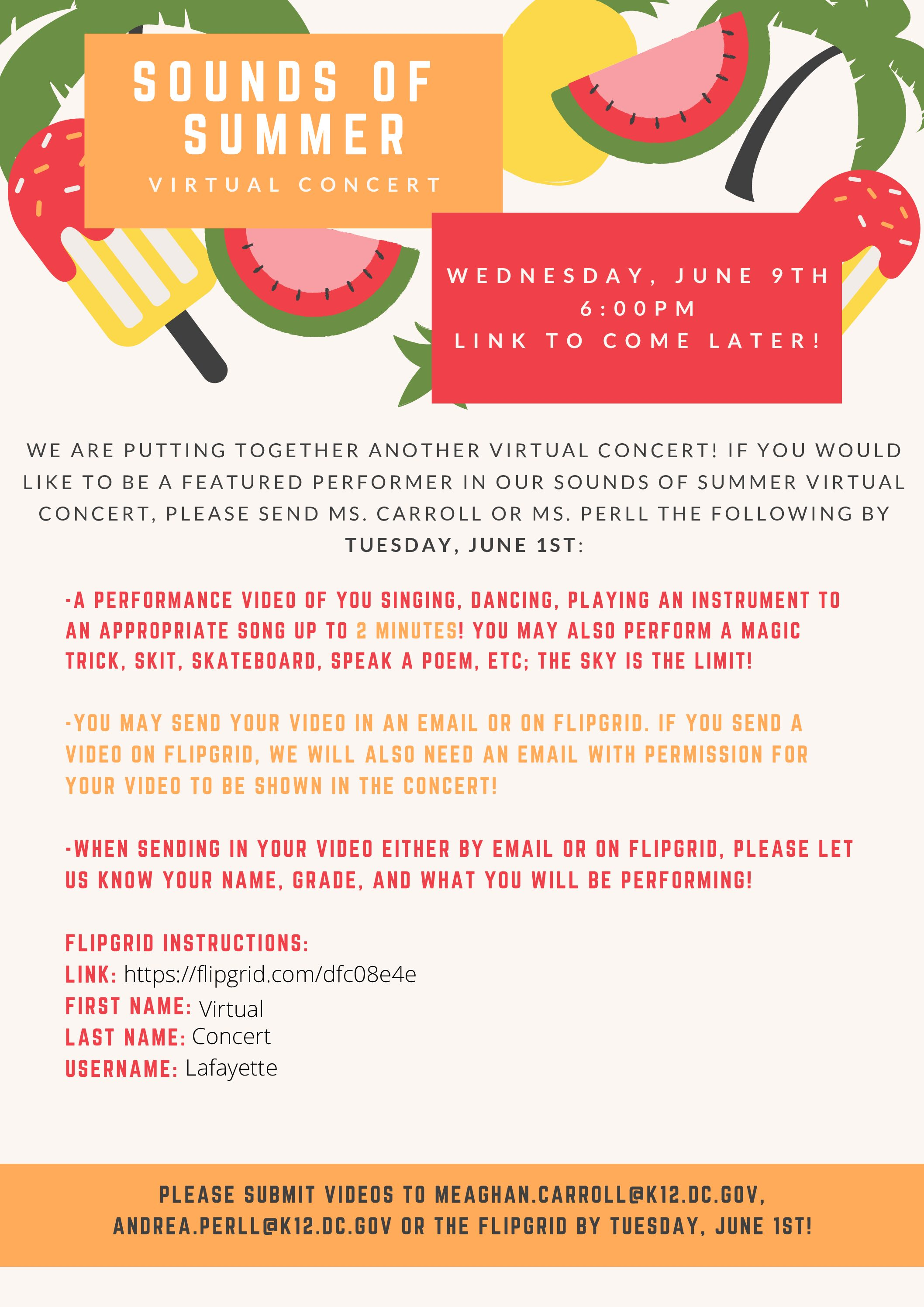Sounds of Summer Virtual Concert Tomorrow, Wednesday, June 9 at 5:45pm
